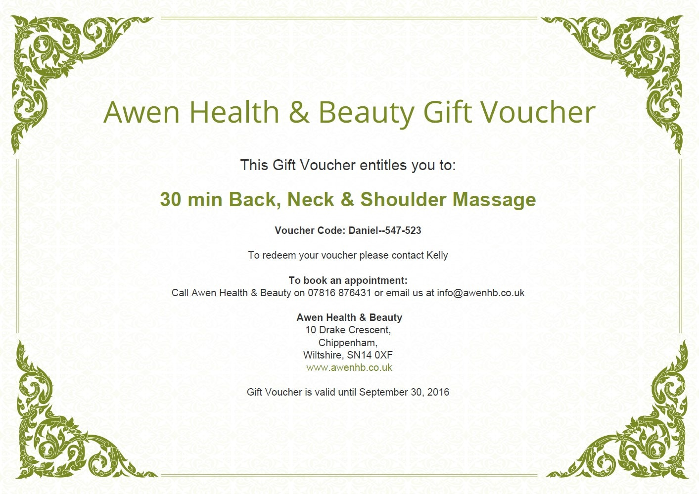 Gift Voucher Preview